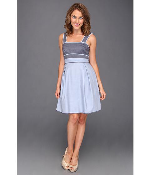 Rochii Donna Morgan - Denim Color Block Bodice Dress - Dark Blue/Light Blue