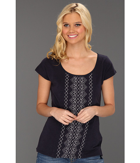 Bluze Lucky Brand - Lillian Embroidered Tee - American Navy