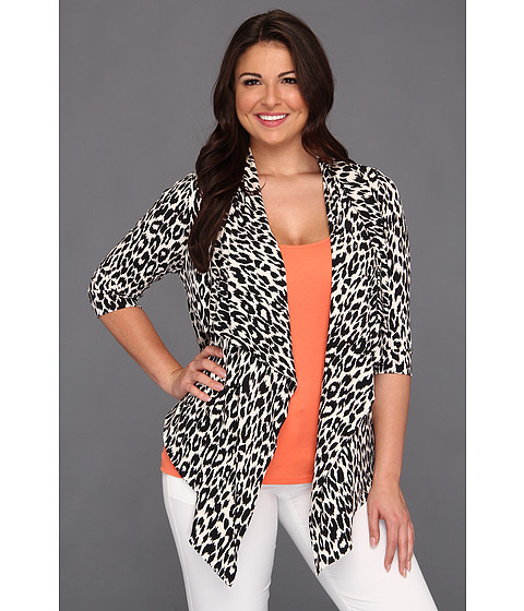 Jachete Karen Kane - Plus Size 3/4 Sleeve Leopard Print Drape Jacket - Cream