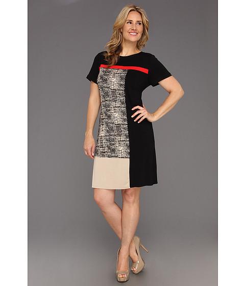 Rochii Calvin Klein - Plus Size Washed Pebbles Blocked T-Shirt Dress - Black/LT Lite Multi