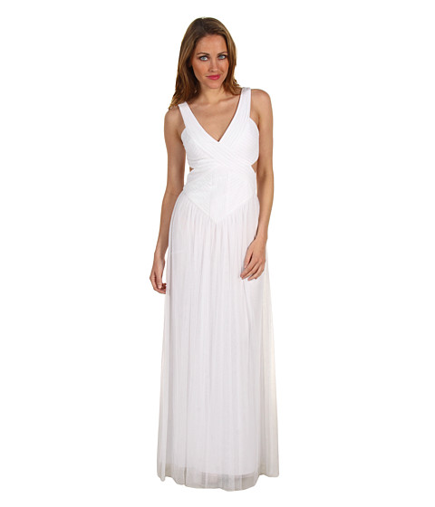 Rochii BCBGMAXAZRIA - Mara V-Neck Open Back Gown - White