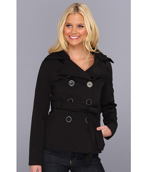 Geci dollhouse - Belted D.B. Jacket with Button-Off Jersey Fleece Hood - Black