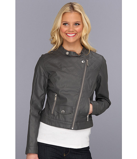 Jachete dollhouse - PU Jacket with Quilted Detail - Graphite