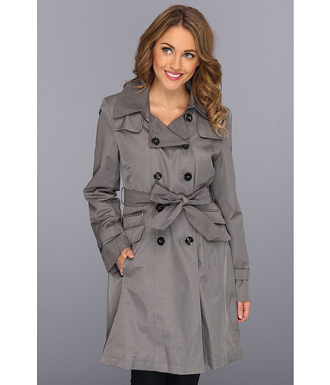 Jachete DKNY - Double Breasted Wool Trench Rain Coat - Iron