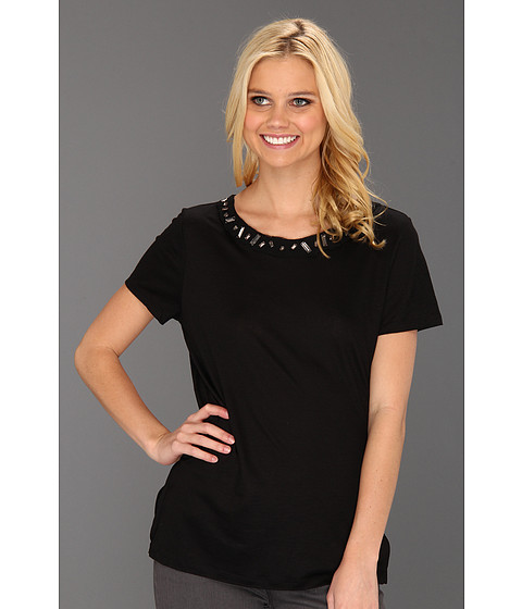 Tricouri Elie Tahari - Fay Embellished Knit Top - Black