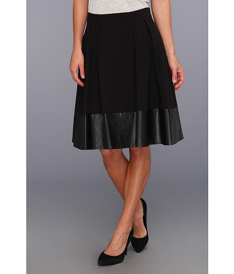 Fuste Calvin Klein - Luxe Pleather Skirt - Black/Black