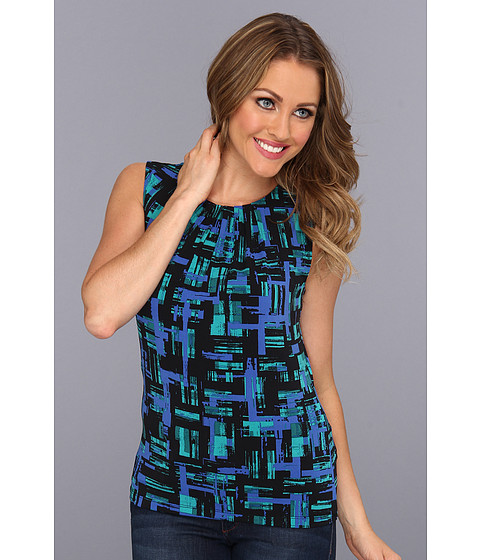 Tricouri Calvin Klein - Matte Jersey Pleat Neck Printed Cami - Electric Blue Multi