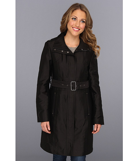 Jachete Kenneth Cole - Zip Front Cotton Sateen Belted Trench - Black
