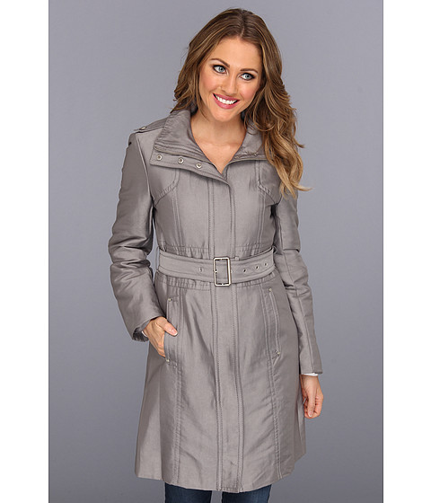 Jachete Kenneth Cole - Zip Front Cotton Sateen Belted Trench - Chrome