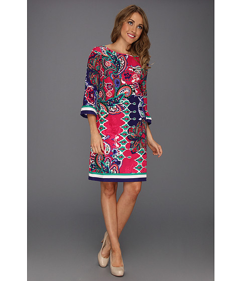 Rochii Nine West - Rio Paisley Border Dress - Cerise Combo