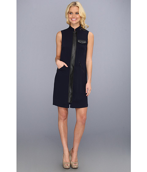 Rochii Calvin Klein - CDC Sheath Dress w/ Leather Trim - Twilight/Black