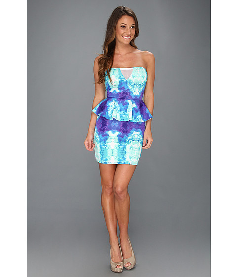 Rochii Type Z - Hanah Watercolor Strapless Peplum Dress - Blue