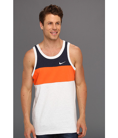Tricouri Nike - Nike Color Block Tank - Birch Heather/Electro Orange/Obsidian Heather/White