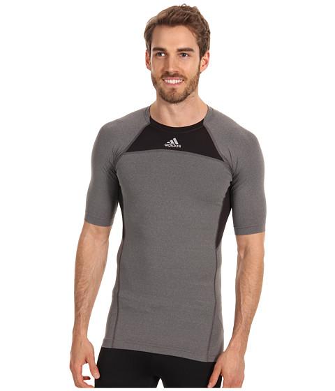 Tricouri adidas - techfitâ⢠Compression Short-Sleeve Tee - Dark Grey Heather/Black/Tech Grey