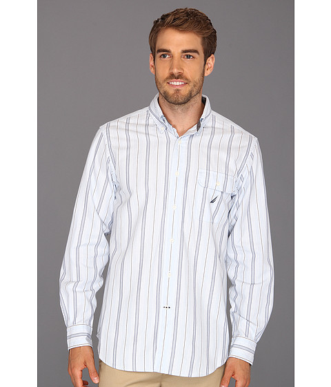 Bluze Nautica - L/S Basketweave Stripe Shirt - Crystal Bay Blue