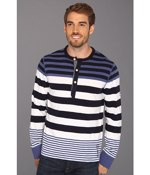 Bluze Nautica - L/S Striped Henley - Union Blue