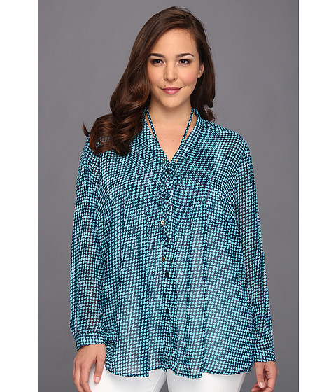 Bluze MICHAEL Michael Kors - Plus Size Abstract Pintuck Shirt - Turquoise