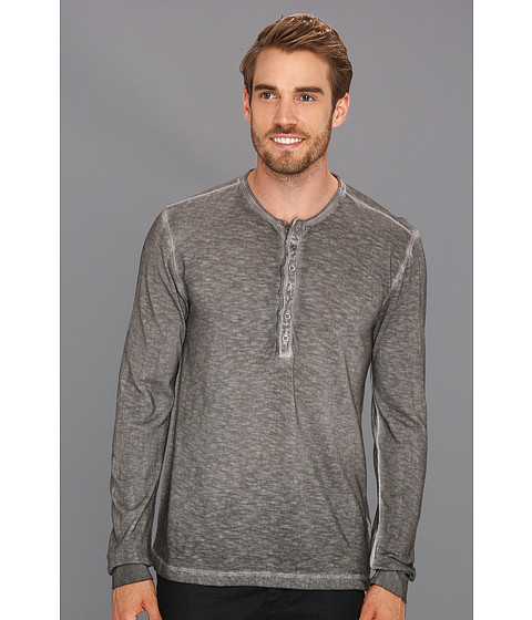 Tricouri Calvin Klein - Solid Long Placket L/S Henley - Chrome