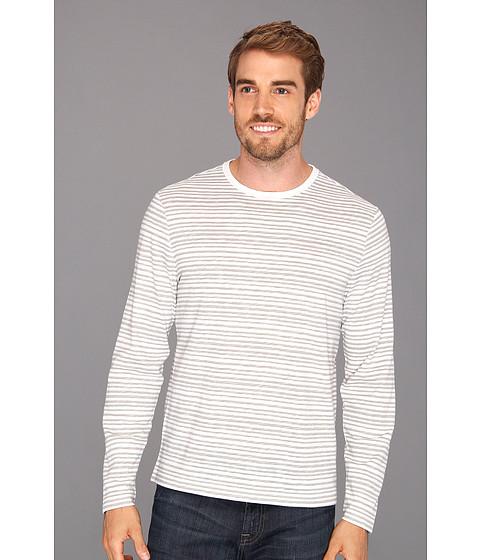 Tricouri Perry Ellis - Cotton Blend Stripe Crew L/S Tee - Bright White