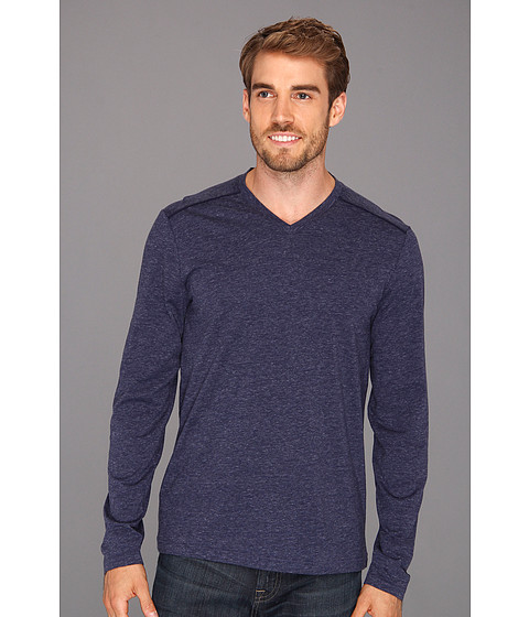 Tricouri Perry Ellis - Marled V-Neck L/S Tee - Evening Blue