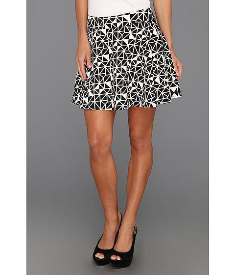 Fuste Type Z - Salli Geo Print Flare Skirt - Black
