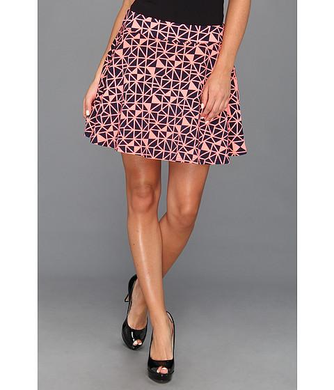 Fuste Type Z - Salli Geo Print Flare Skirt - Neon Pink