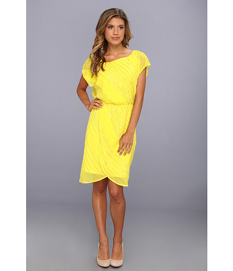 Rochii Vince Camuto - Asymmetrical Neckline Sequin Dress - Blazing Yellow