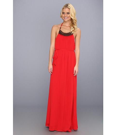 Rochii Vince Camuto - Maxi Dress w/ Wooden Bead Halter Neckline - Chinese Red