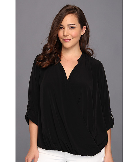 Bluze DKNY - Plus Size Wrap Front Blouse With Roll Tab Sleeve - Noir