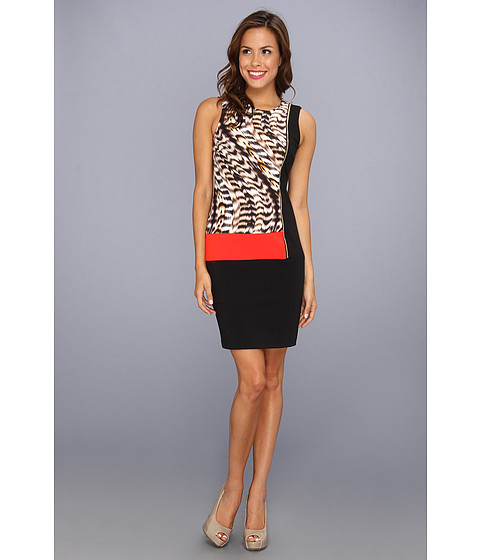 Rochii Calvin Klein - Seamed Block Dress - Latte Multi 2