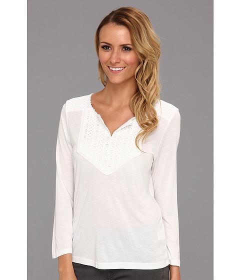 Tricouri Calvin Klein - Three Quarter Sleeve Eyelet Bib Top - White