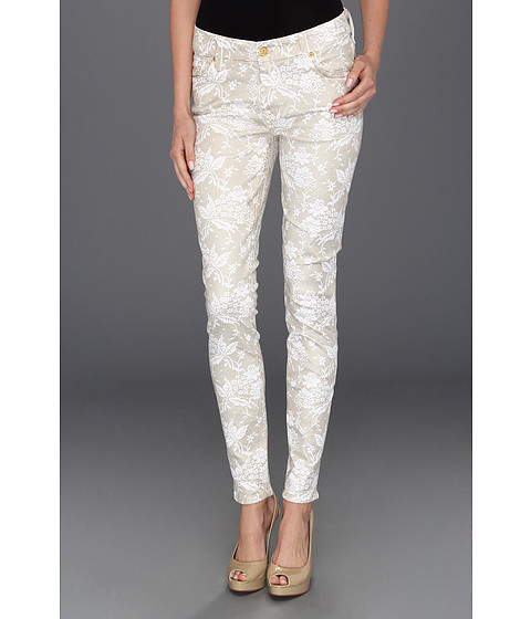 Blugi 7 For All Mankind - The Skinny Floral Spray Lace - White/Almond Foil