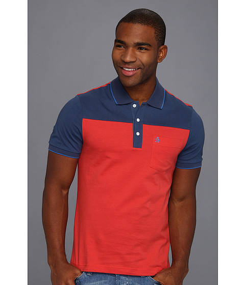 Tricouri Original Penguin - Heritage Fit Color Blocked Polo w/ Pocket - Radiate Red
