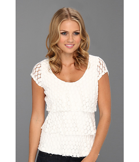 Tricouri Christin Michaels - Taisie Tiered Lace Top - Soft White