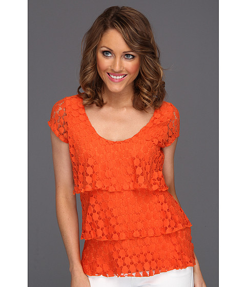 Tricouri Christin Michaels - Taisie Tiered Lace Top - Fresh Orange