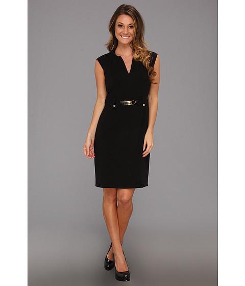 Rochii Calvin Klein - Shift Dress w/ Gold Hardware - Black