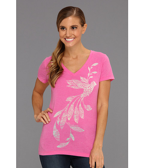 Bluze The North Face - S/S Janalee V-Neck Burn-Out Tee - Linaria Pink