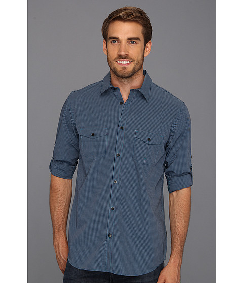 Tricouri Calvin Klein - Yarn Dye Shadow Check Poplin Roll-Up L/S Woven - Endurance Blue