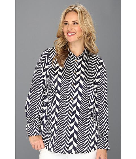 Bluze MICHAEL Michael Kors - Plus Size League Stripe Long Sleeve Fit Shirt - Cream