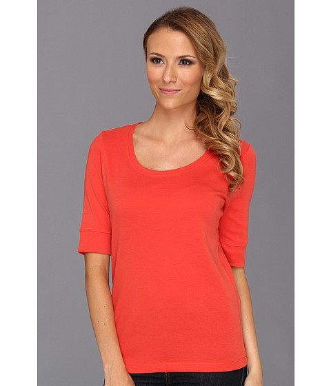 Tricouri Jones New York - 1/2 Sleeve Scoop Neck Top - Lava