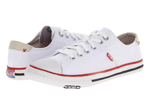 Adidasi SKECHERS - Bobs - Canvas Lace - White
