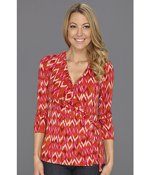 Bluze Anne Klein New York - Ikat Print Wrap Top - Coral Multi