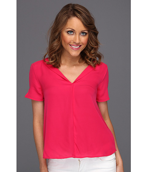 Bluze Halston Heritage - Short Sleeve Cropped Top - Bright Raspberry
