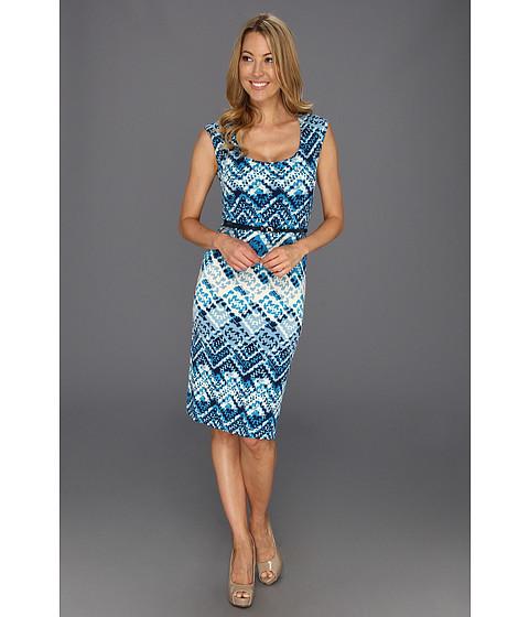 Rochii Anne Klein New York - Argyle Print Scoop Neck Dress - Capri Multi