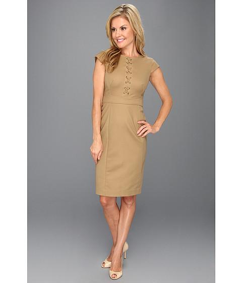 Rochii Anne Klein New York - Petite Sheath Dress w/ Lacing - Vicuna