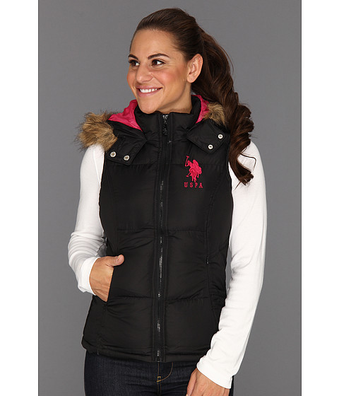 Jachete U.S. Polo Assn - Hoodie Faux Fur Trim Solid Vest - Black