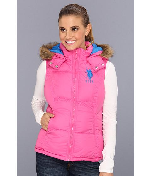 Jachete U.S. Polo Assn - Hoodie Faux Fur Trim Solid Vest - Totally Pink