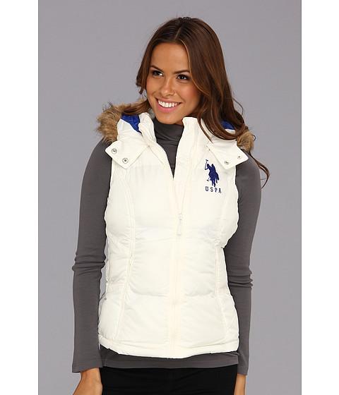 Jachete U.S. Polo Assn - Hoodie Faux Fur Trim Solid Vest - Oat
