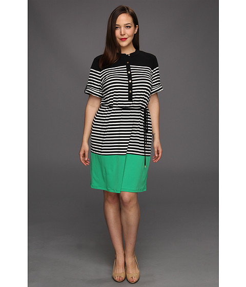 Rochii Calvin Klein - Plus Size Color Block Shirt Dress - Emerald