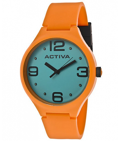 Ceasuri Activa - Activa Watch Aa100-015 Mens Light Blue Dial Orange Polyurethane - Multicolor